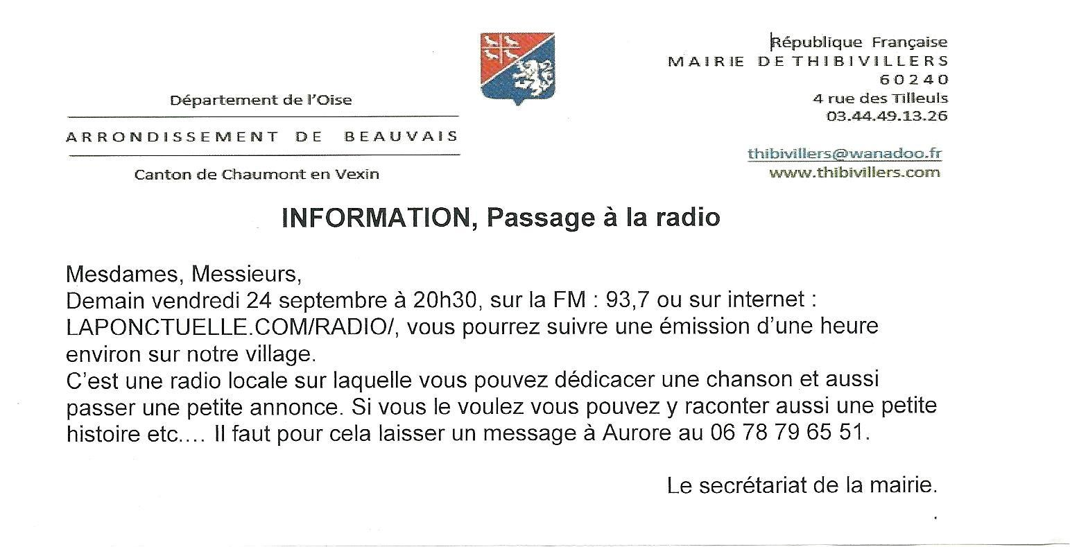 Infos radio thibi